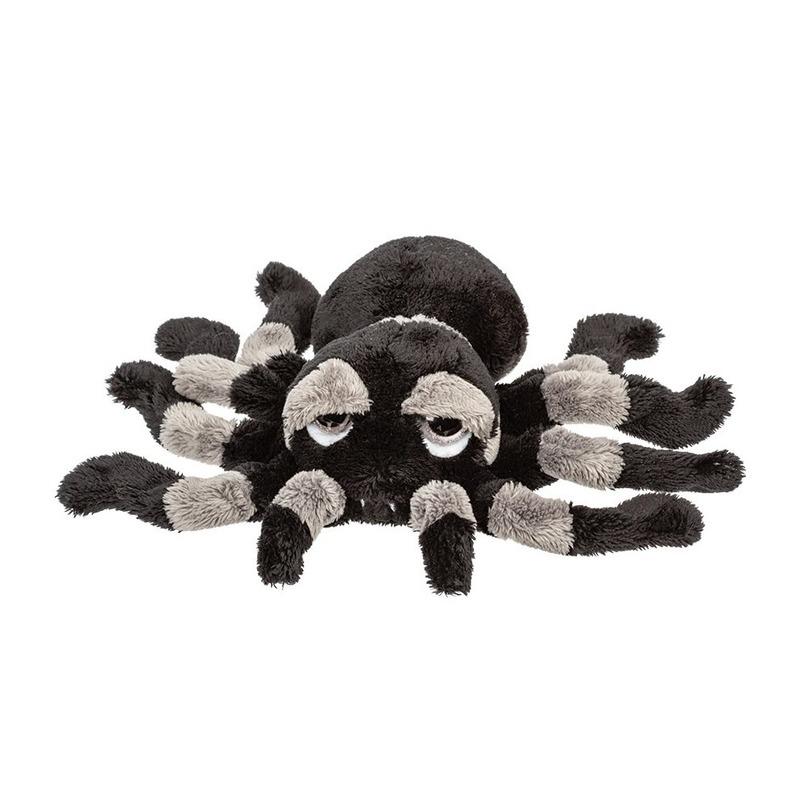 Pluche zwart/grijze spin knuffel 22 cm speelgoed