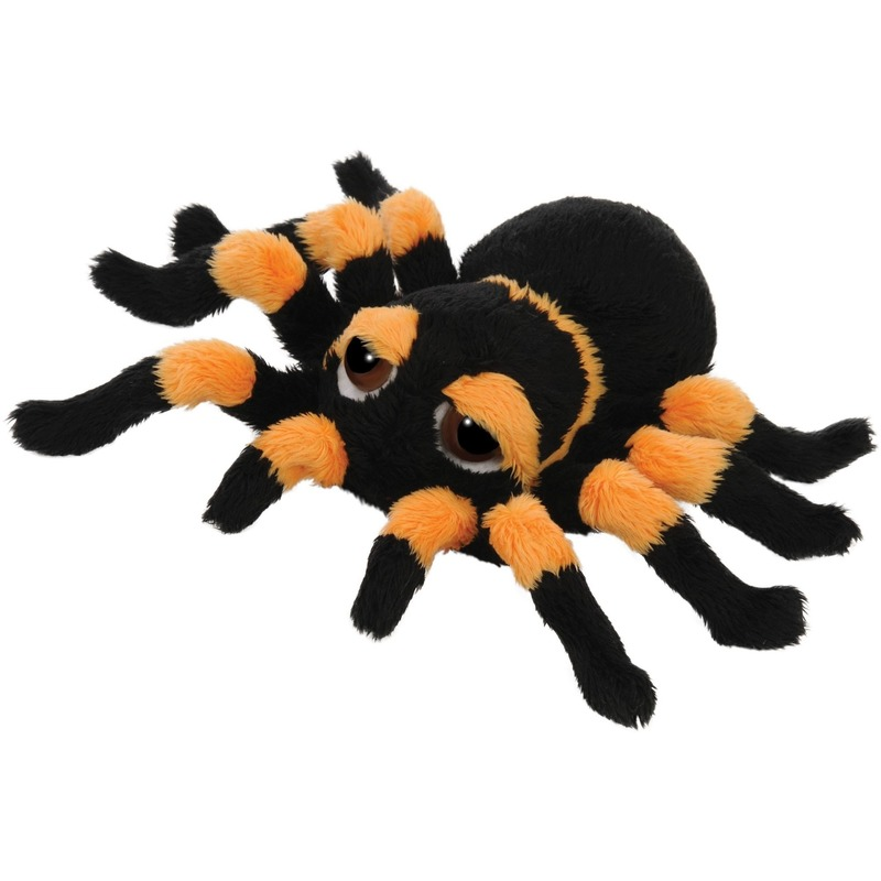 Pluche zwart/oranje spin knuffel 13 cm speelgoed