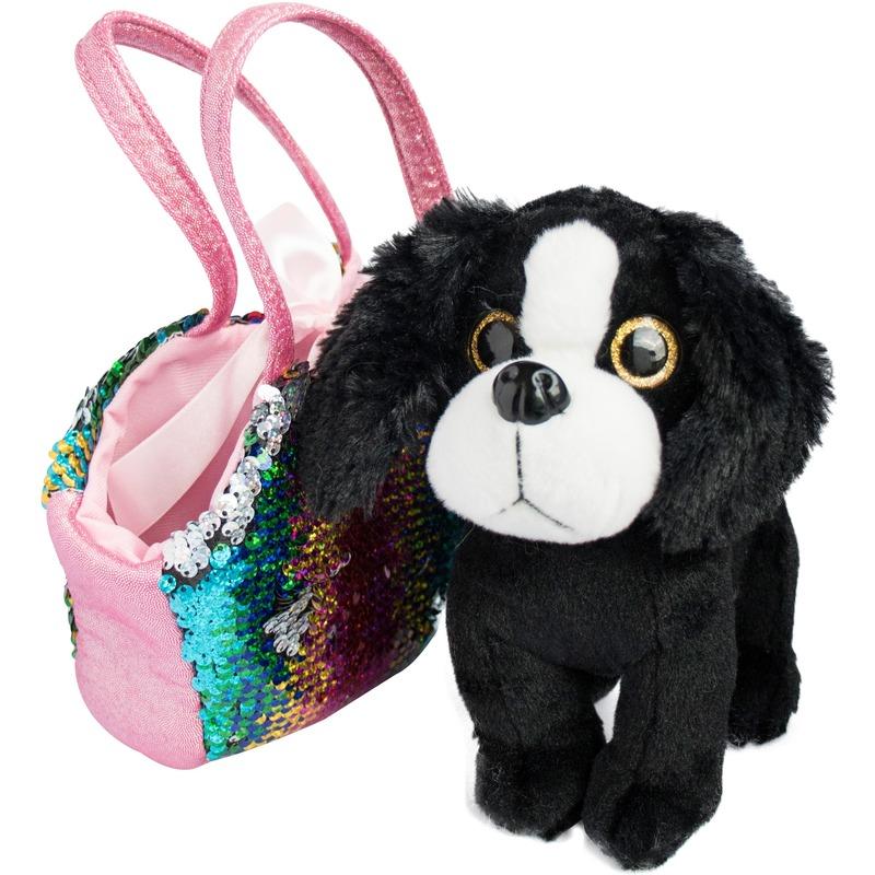 Pluche zwart/witte Cocker Spaniel hond knuffel 20 cm in tas