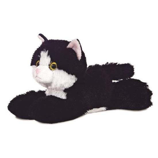 Pluche zwart/witte kat/poes knuffel 20 cm speelgoed