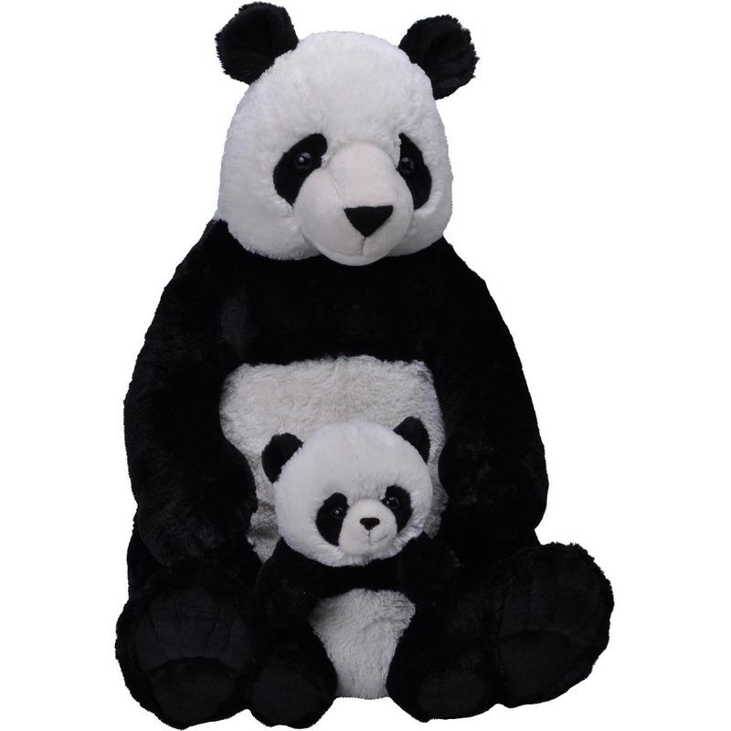 Pluche zwart/witte panda beer met baby knuffel 76 cm speelgoed