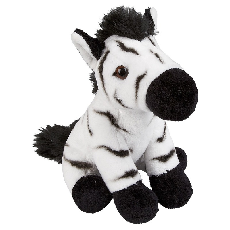 Pluche zwart/witte zebra knuffel 19 cm speelgoed