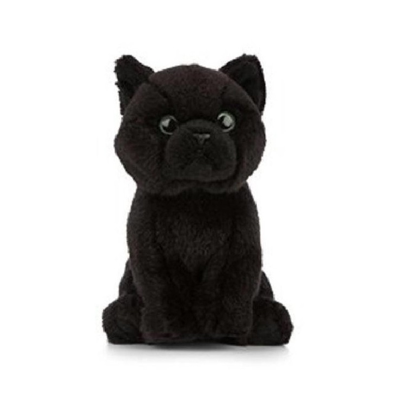 Pluche zwarte Bombay kat/poes knuffel 16 cm speelgoed