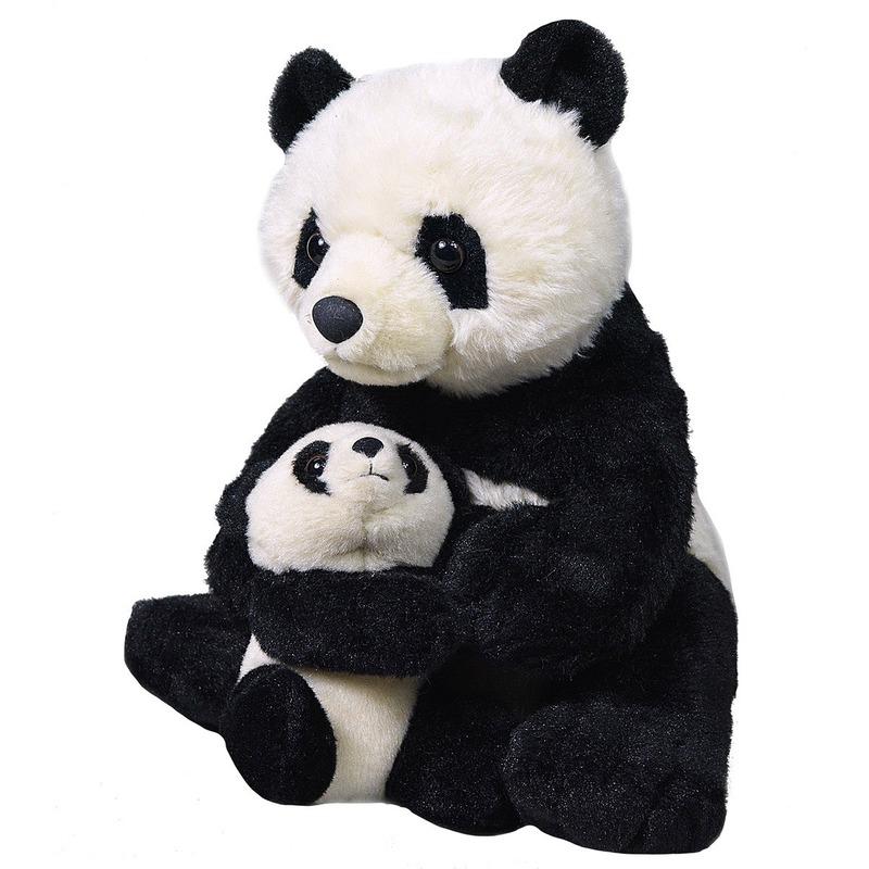 Pluche zwarte panda met baby/pandaberen knuffels 38 cm speelgoed