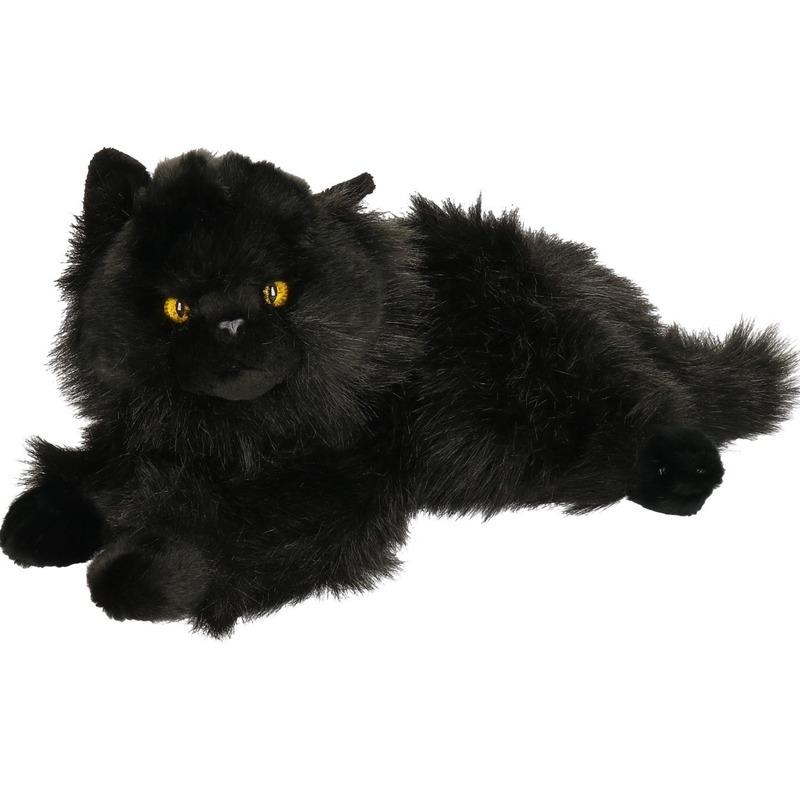 Pluche zwarte Perzische kat/poes knuffel 30 cm speelgoed