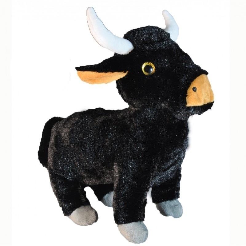 Pluche zwarte stier knuffel 28 cm speelgoed