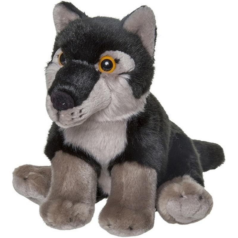 Pluche zwarte wolf/wolven knuffel 18 cm speelgoed