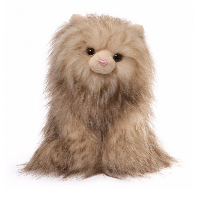 Deze realistische zittende knuffelkat heeft de naam paxton en is gemaakt van acryl. de knuffel heeft ...