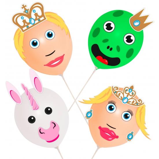 Kinderfeestjes Prins en Prinses ballonnen 4 stuks