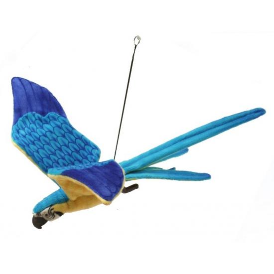 Realischtische papegaaien knuffel blauw / geel 76 cm