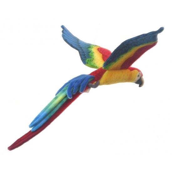 Realischtische papegaaien knuffel gekleurd 56 cm
