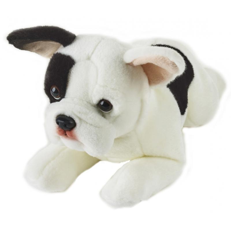 Realistische Franse Buldog Hond Knuffel 39 Cm Liggend