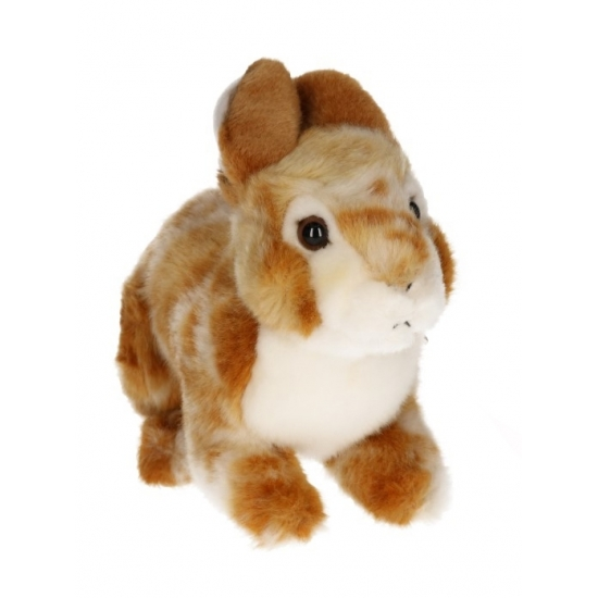 Realistische konijnen knuffeltje lichtbruin 22 cm