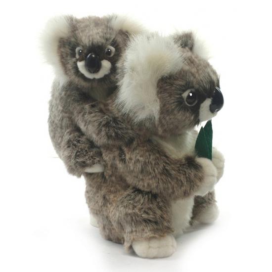 Realistische pluche koala met baby 28 cm