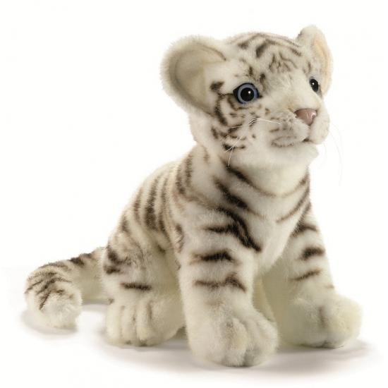 Realistische witte pluche tijger 18 cm