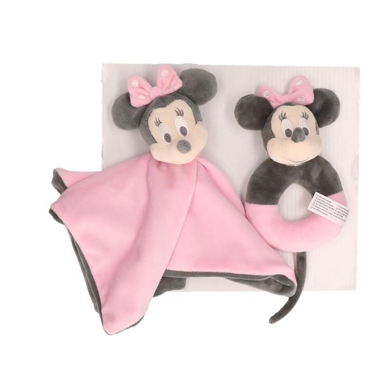 Roze Disney rammelaar met tuttel/knuffeldoekje Minnie Mouse