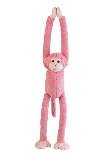 Roze hangende knuffel aap 55 cm