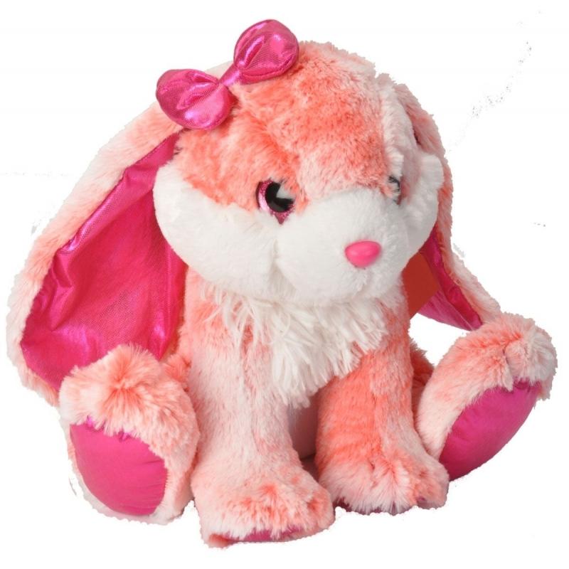 Roze konijn knuffel pluche met strikje 30 cm