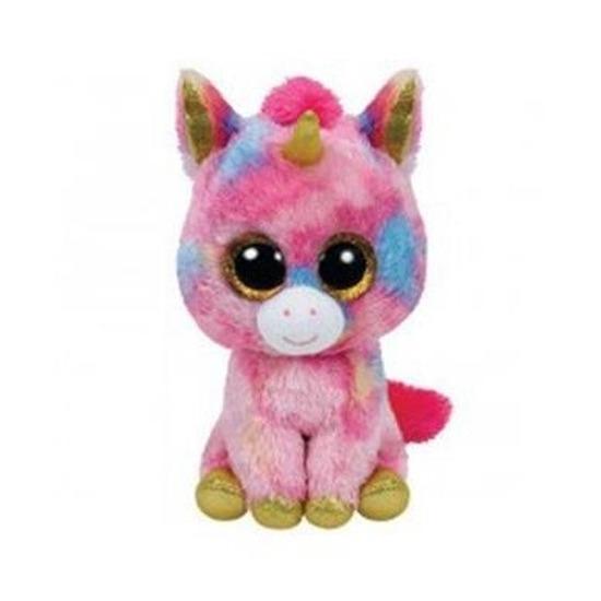 Roze pluche Ty Beanie eenhoorn knuffel Fantasia 15 cm