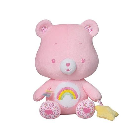 Roze troetelbeer knuffel met rammelaar 24 cm