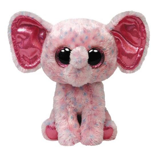 Roze Ty Beanie olifant Ellie 24 cm