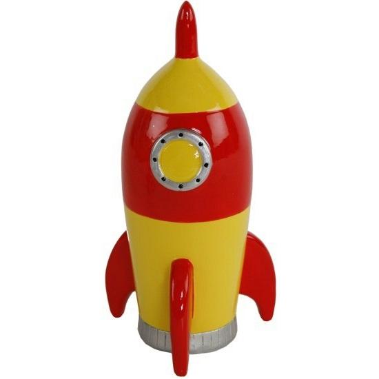 Speelgoed diversen Geen Spaarpot raket geel 14 cm