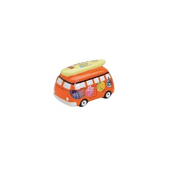 Speelgoed diversen Spaarpot vakantie bus oranje 16 cm