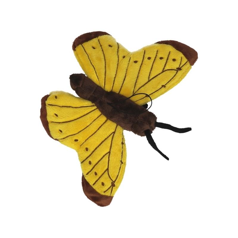 Speel vlinder knuffel geel 21 cm