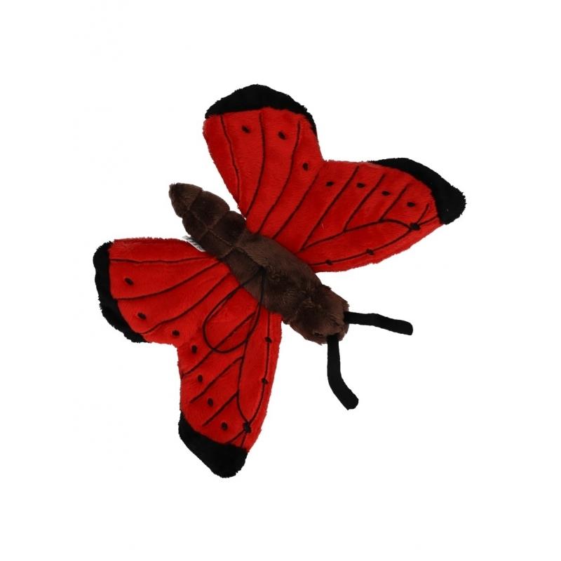 Speel vlinder knuffel rood 21 cm