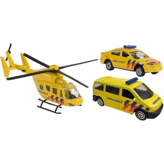 Speelgoedvoertuigen Geen Speelgoed 112 ambulance set 3 delig