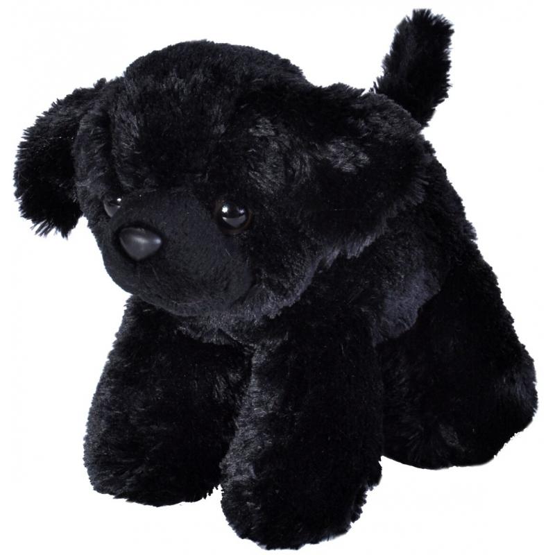 Speelgoed dieren labrador knuffel zwart pluche 18 cm