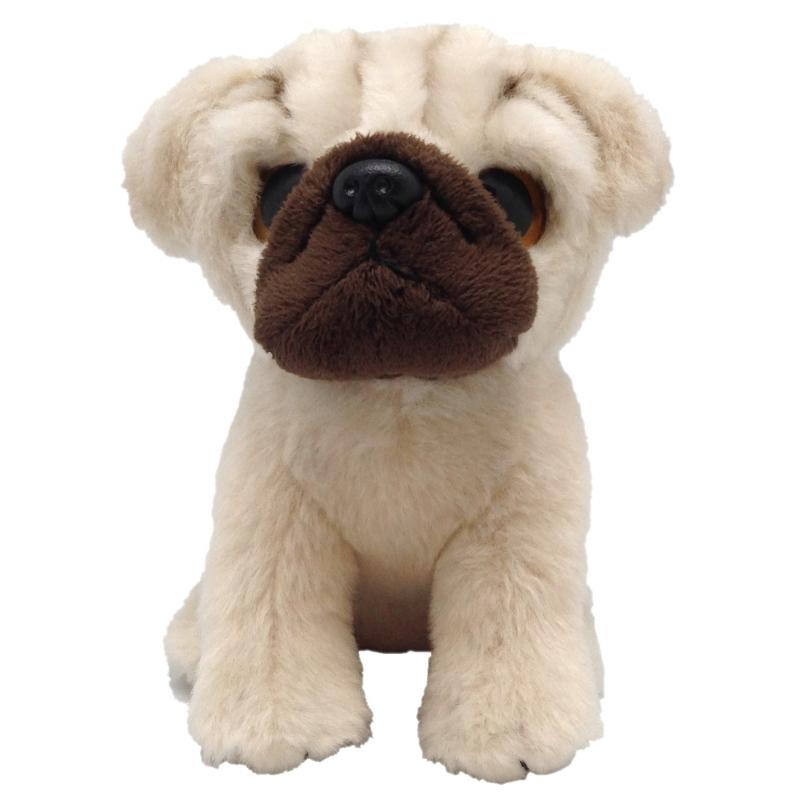 Speelgoed dieren Mopshond knuffel pluche 13 cm