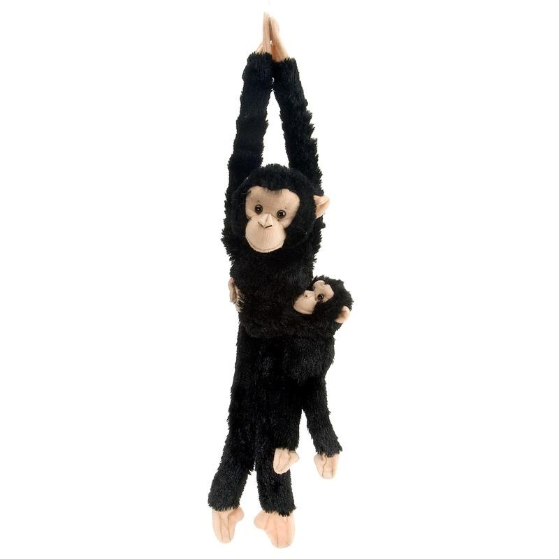Speelgoed knuffel aapje hangend met baby 43 cm