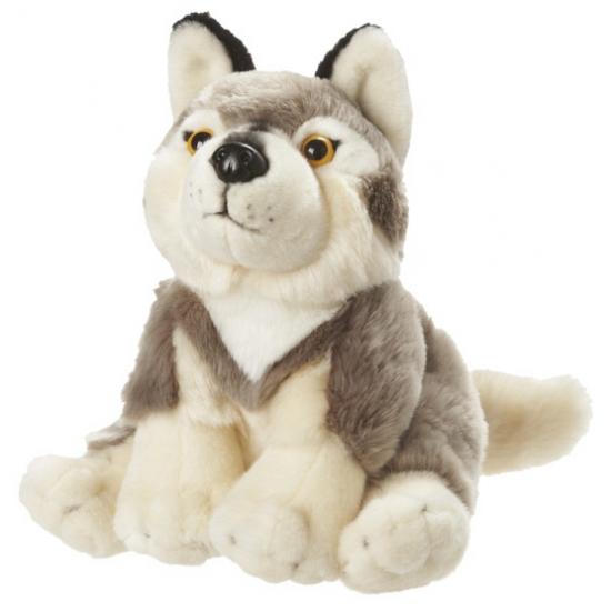 Speelgoed knuffel wolf zittend 18 cm
