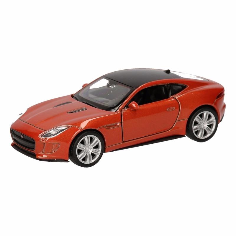 Speelgoedvoertuigen Speelgoed oranje Jaguar F Type coupe speelauto 12 cm
