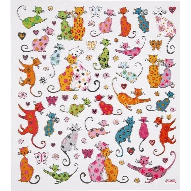Stickervel katten/poezen metallic. stickervel met verschillende katten stickers. de stickers zijn gemaakt van ...