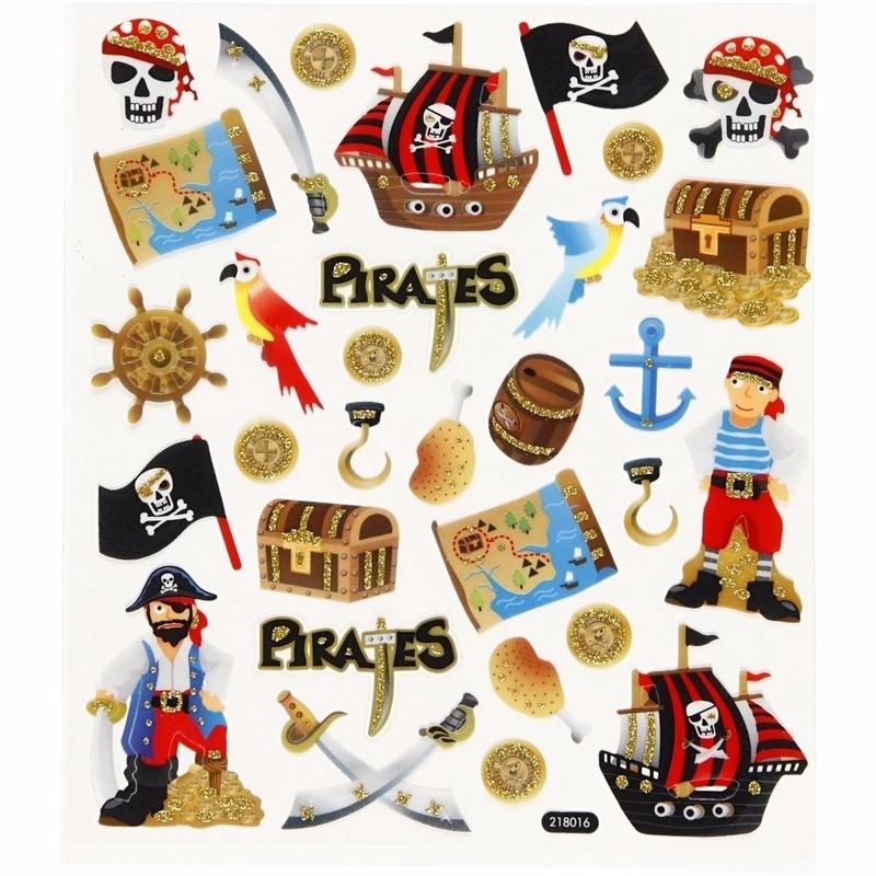 Schoolspullen Geen Stickervel piraten met glitter