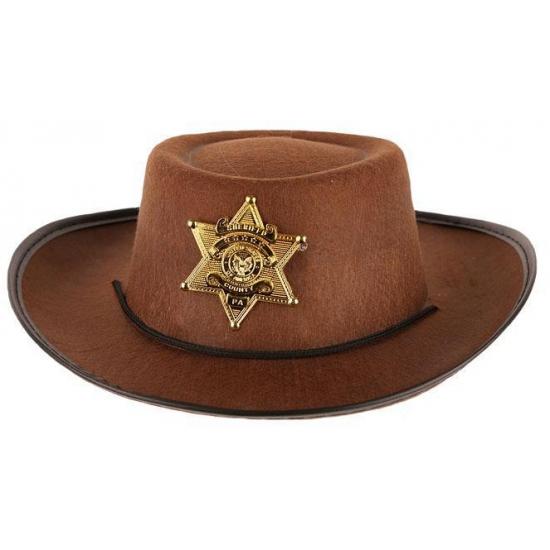 Feest hoeden Geen Stoere bruine cowboy hoed voor kinderen