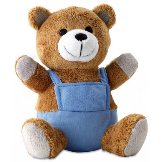 Teddybeertje met blauwe kleding