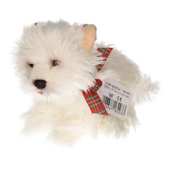 Terrier hond wit knuffeldier 25 cm