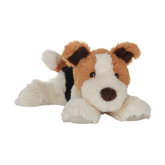 Tricolor honden knuffel kruik geboorteknuffel 18 cm