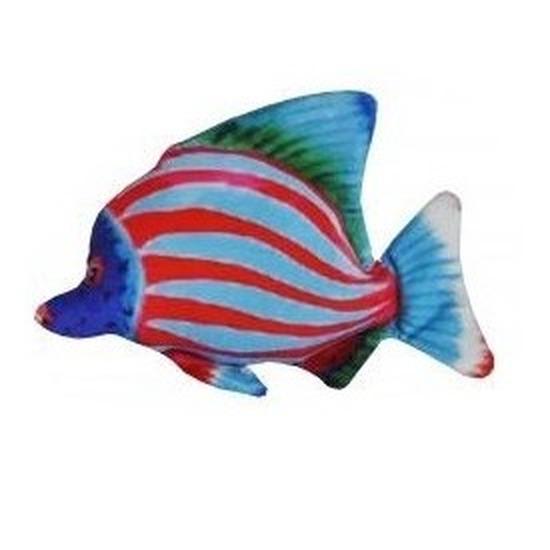 Tropische pluche knuffel vis blauw en rood gestreept 25 cm