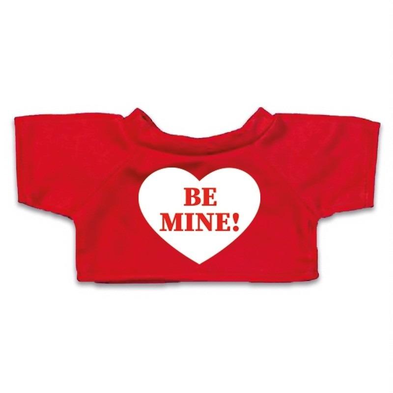 Valentijn - Knuffel kleding Be Mine hartje t-shirt rood M voor Clothies k