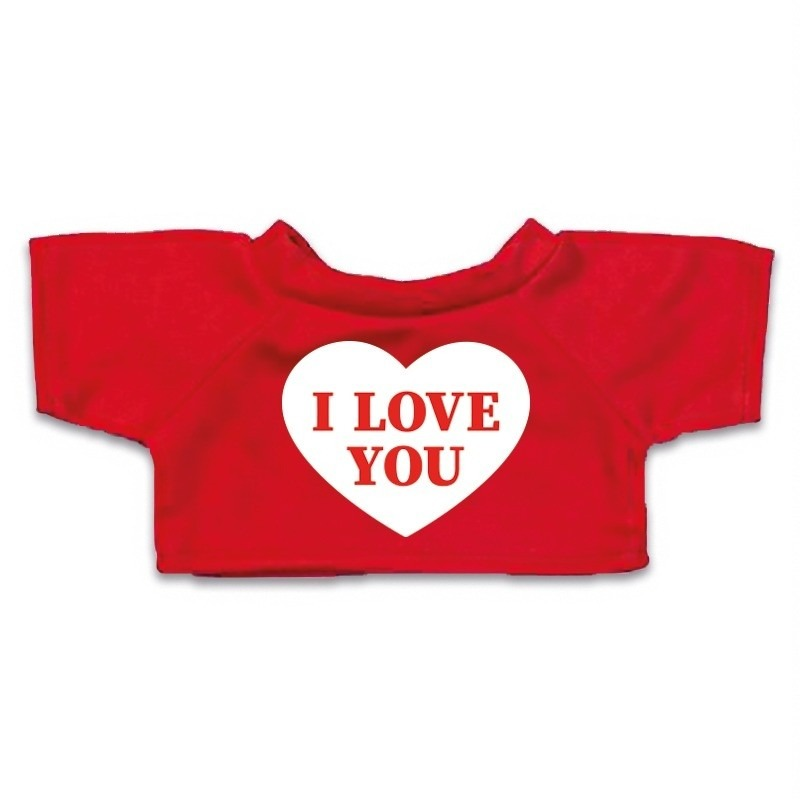 Valentijn - Knuffel kleding I love you hartje t-shirt rood M voor Clothies k