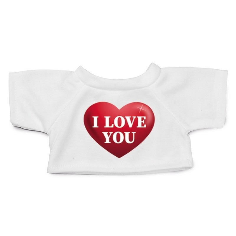 Valentijn - Knuffel kleding I love you hartje t-shirt wit M voor Clothies k