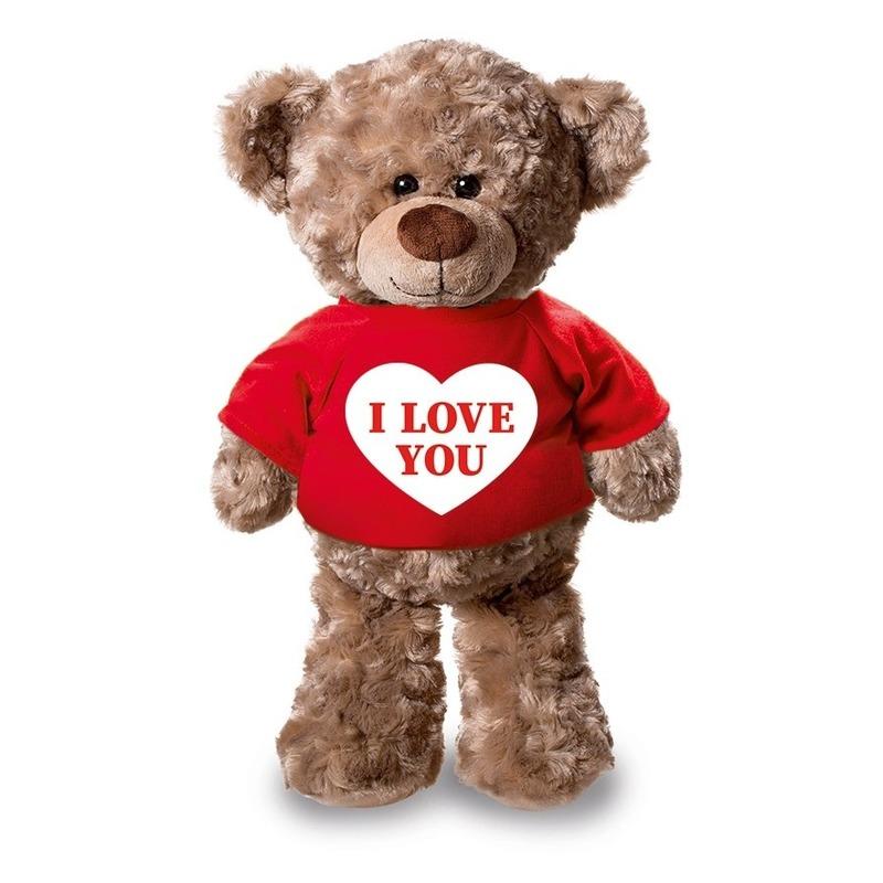 Valentijn - Knuffel teddybeer met I love you hartje rood shirt 24 cm