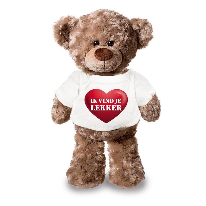 Valentijn - Knuffel teddybeer met ik vind je lekker hartje shirt 24 cm