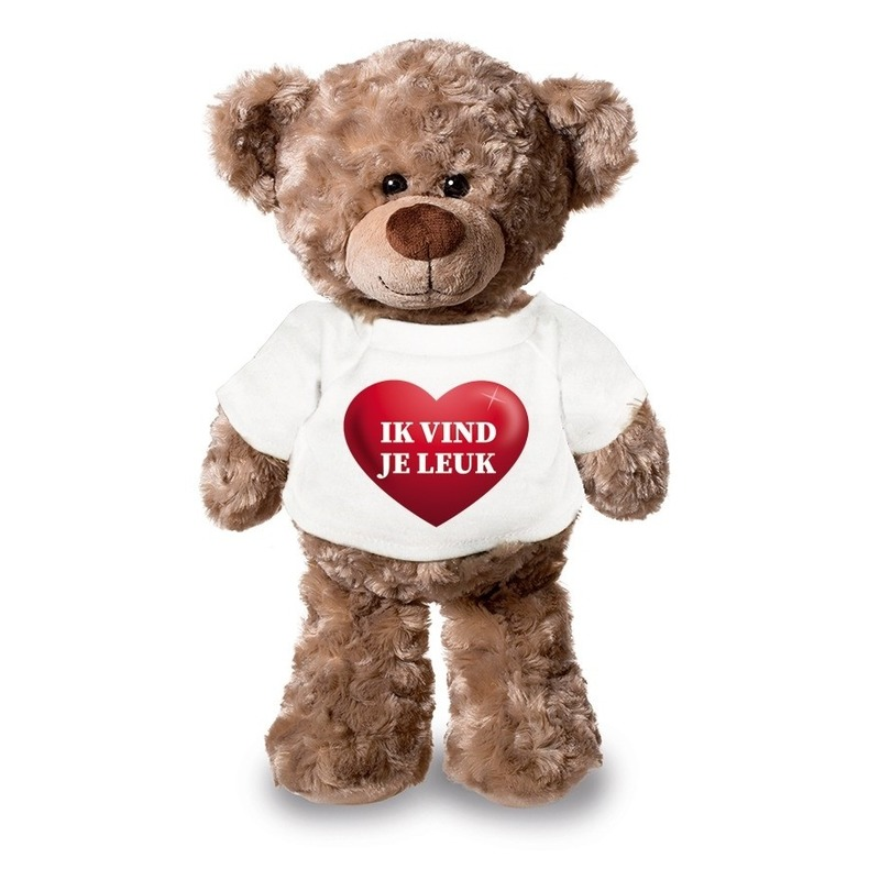 Valentijn - Knuffel teddybeer met ik vind je leuk hartje shirt 24 cm