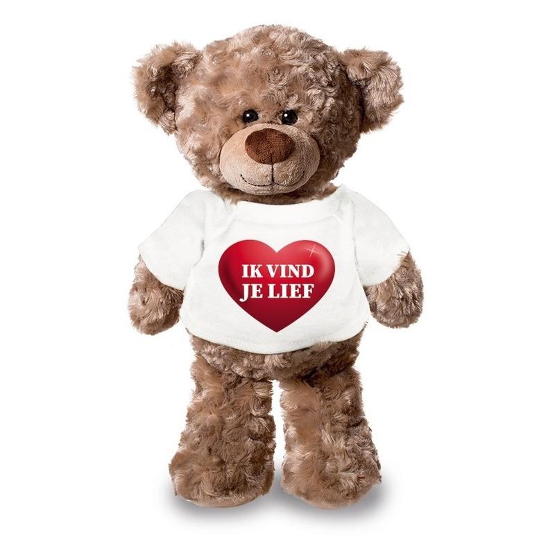 Valentijn - Knuffel teddybeer met ik vind je lief hartje shirt 24 cm