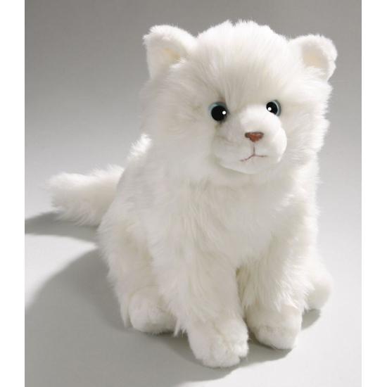 Pluche knuffel witte tabby kat. knuffel van een witte tabby kat. de pluche knuffel is ongeveer 27 cm groot. ...